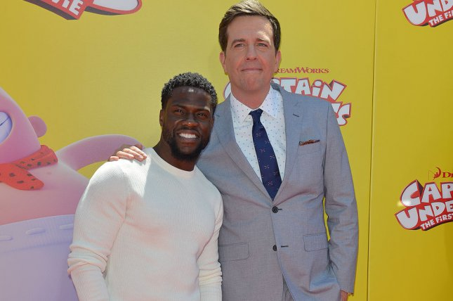Kevin Hart (L) and Ed Helms arrive for the premiere of Captain Underpants: The First Epic Movie in Los Angeles on May 21. Helms is now working on the comedy Tag. File Photo by Christine Chew/UPI