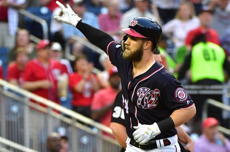 Washington Nationals right fielder Bryce Harper (34). Photo by Kevin Dietsch/UPI