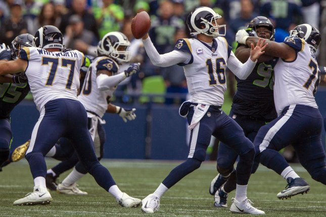Los Angeles Rams quarterback Jared Goff (16) gets set to pass against the Seattle Seahawks during the fourth quarter on Sunday at CenturyLink Field in Seattle, Washington. Photo by Jim Bryant/UPI