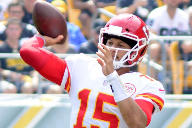 Kansas City Chiefs quarterback Patrick Mahomes (15) throws during the first quarter against the Pittsburgh Steelers on September 16, 2018 at Heinz Field in Pittsburgh. Photo by Archie Carpenter/UPI