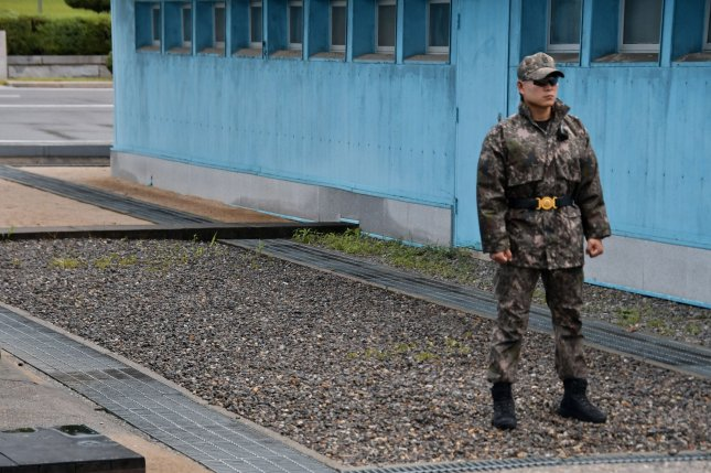 A South Korean soldier stands guard in the Demilitarized Zone separating North and South Korea. File Photo by Keizo Mori/UPI