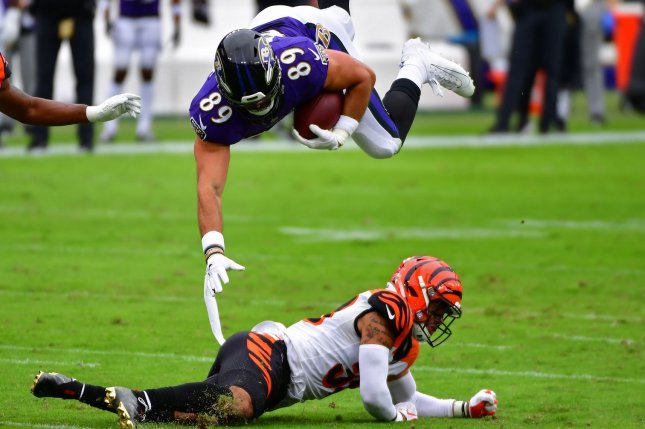 Baltimore Ravens tight end Mark Andrews (89) has been one of the best tight ends in fantasy football this season and tops my Week 6 rankings. File Photo by David Tulis/UPI
