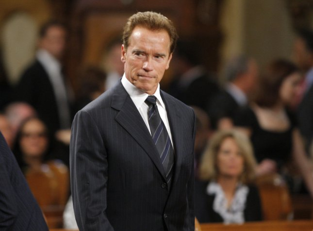 California Governor Arnold Schwarzenegger, whose wife Maria Shriver is the niece of Senator Edward Kennedy, attends funeral services for U.S. Senator Edward Kennedy at the Basilica of Our Lady of Perpetual Help in Boston, Massachusetts August 29, 2009. Senator Kennedy died late Tuesday after a battle with cancer. UPI/Brian Snyder/Pool