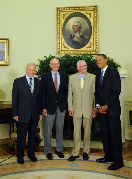 U.S. President Barack Obama meets with crew members of Apollo 11 on the 40th anniversary of the first manned moon landing in the Oval Office of the White House in Washington on July 20, 2009. From left are Buzz Aldrin, Michael Collins, Neil Armstrong (first man on the moon) and Obama. (UPI Photo/Roger L. Wollenberg)