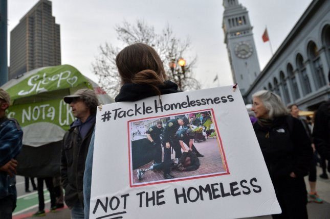 Homeless community members and supporters protest the alleged removal of homeless individuals from San Francisco ahead of the Super Bowl in February. Homelessness nationwide decreased 3 percent, a new report by Department of Housing and Urban Development shows, though homelessness increased in Dallas, Seattle, Los Angeles County, and Washington, D.C. File Photo by Kevin Dietsch/UPI