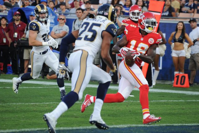 The young Kansas City receiving corp learned from veteran Jeremy Maclin but will need to move on without him after he was released on Monday. File photo by Jon SooHooUPI