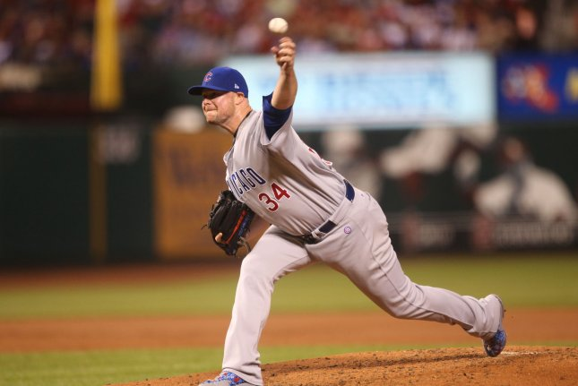 Chicago Cubs starting pitcher Jon Lester delivers a pitch to the St. Louis Cardinals in the second inning at Busch Stadium in St. Louis on September 25, 2017. Photo by Bill Greenblatt/UPI
