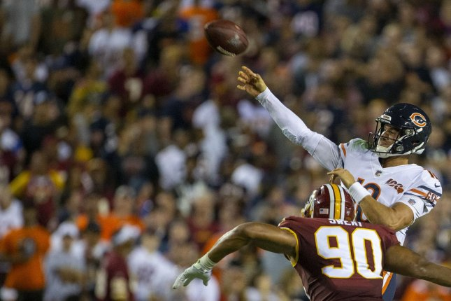 Chicago Bears quarterback Mitchell Trubisky (10) completed 25 of 31 passes for 231 yards, three scores and an interception in a win against the Washington Redskins Monday in Landover, Md. Photo by Tasos Katopodis/UPI