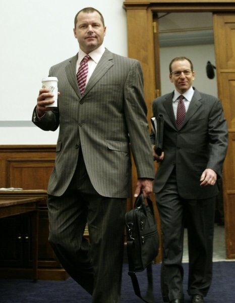 New York Yankees pitcher Roger Clemens (L) arrives with his attorney Lanny Breuer at the offices of the House Oversight and Government Reform Committee on Capitol Hill in Washington on February 5, 2008 to testify during a closed deposition on the Mitchell Report and steroid use in baseball. (UPI Photo/Yuri Gripas)