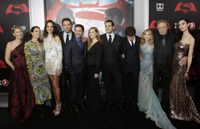 Deborah Snyder, Diane Lane, Gal Gadot, Amy Adams, Ben Affleck, Zack Snyder, Henry Cavill, Jesse Eisenberg, Holly Hunter, Charles Roven and Tao Okamoto arrive on the red carpet at the Batman v Superman: Dawn of Justice premiere at Radio City Music Hall on March 20, 2016 in New York City. Photo by John Angelillo/UPI
