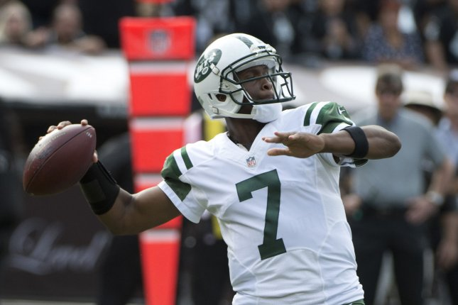 Former New York Jets quarterback Geno Smith drops back to pass in the second quarter against the Oakland Raiders on November 1, 2015 at O.co Coliseum in Oakland, California. File photo by Terry Schmitt/UPI