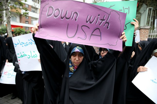 Iranian demonstrators rally in front of the former U.S. Embassy in Tehran, Iran, on May 9, 2018. File Photo by Maryam Rahmanian/UPI