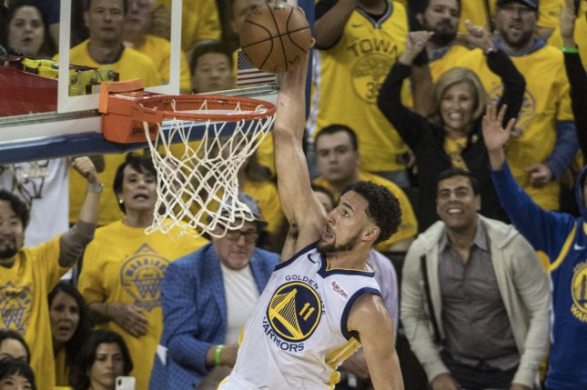 Golden State Warriors guard Klay Thompson suffered a left hamstring strain in Game 2 of the NBA Finals. File Photo by Terry Schmitt/UPI