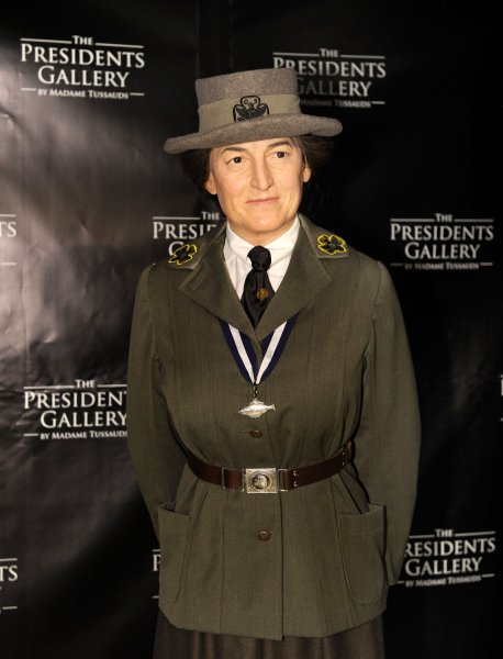 Madame Tussauds Museum unveils the wax figure of Girl Scout founder Juliette Gordon Low on May 9, 2012, in Washington, D.C. On March 12, 1912, Low organized the first Girl Scouts of America troop in Savannah, Ga. File Photo by Mike Theiler/UPI