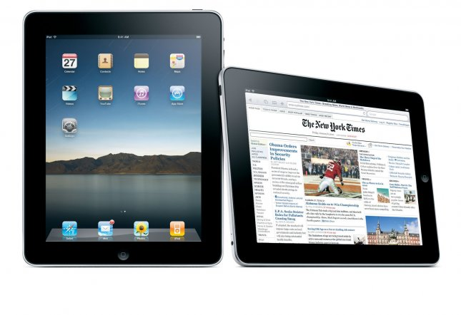 The Apple iPad is seen in an undated handout image. Apple unveiled the iPad on January 27, 2010. The technology, similar to the iPhone, has a 9.7-inch touch screen, is a half-inch thick, and weighs 1.5 pounds. It will cost between $499 - $699, depending on the storage size. UPI/Apple Inc.
