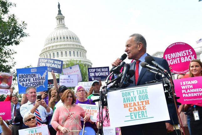 Senate Democratic leader Charles Schumer, D-N.Y., speaks at a rally against the Graham-Cassidy healthcare bill on Capitol Hill in Washington, D.C., on Tuesday. The Graham-Cassidy Bill is the Republican Party's newest healthcare bill designed to replace former President Barack Obama's Affordable Care Act. Photo by Kevin Dietsch/UPI