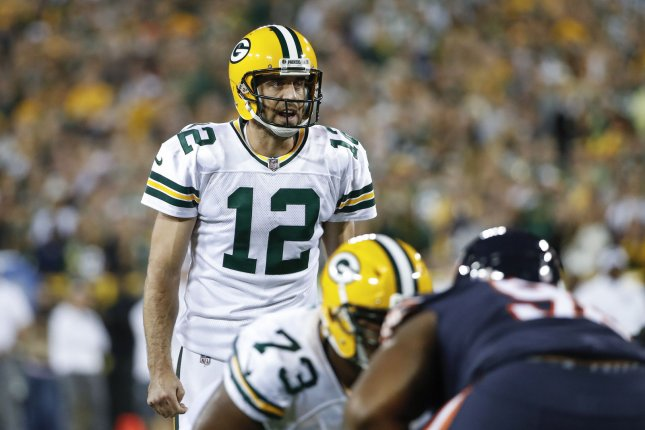 Green Bay Packers quarterback Aaron Rodgers (12) directs his team against the Chicago Bears during the first half at Lambeau Field in Green Bay on September 28, 2017. File photo by Kamil Krzaczynski/UPI
