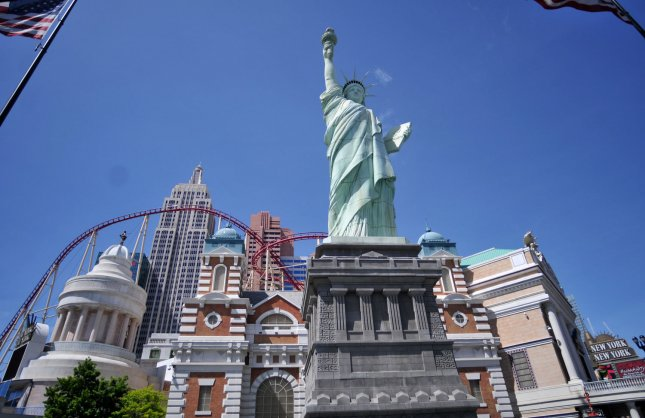 The U.S. Postal Service was ordered to pay $3.5 million to artist Robert S. Davidson for using a photo of his replica Statue of Liberty outside the New York New York Casino in Las Vegas on a series of stamps. File Photo by Kevin Dietsch/UPI