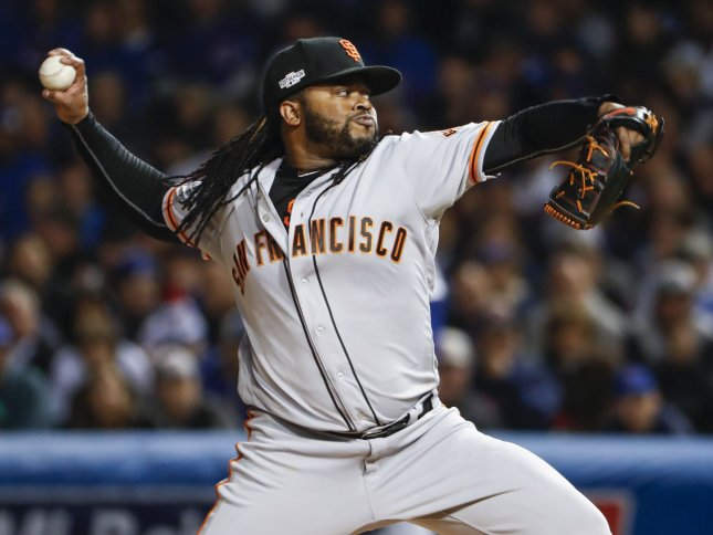 Johnny Cueto and the San Francisco Giants take on the Chicago Cubs on Tuesday. Photo by Kamil Krzaczynski/UPI