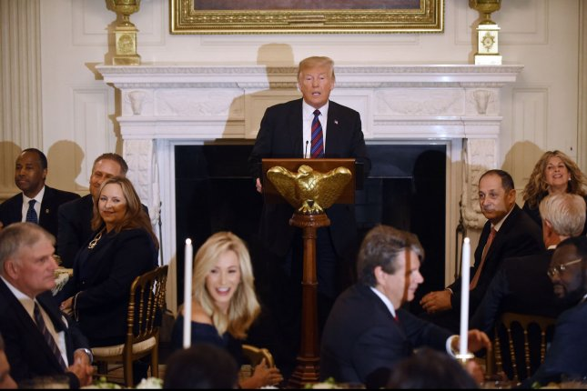 President Donald Trump delivers remarks during a dinner for Evangelical leadership in the State Dining Room of the White House August 27. More than 80 percent of white evangelicals supported Trump in the 2016 election. File Photo by Olivier Douliery/UPI