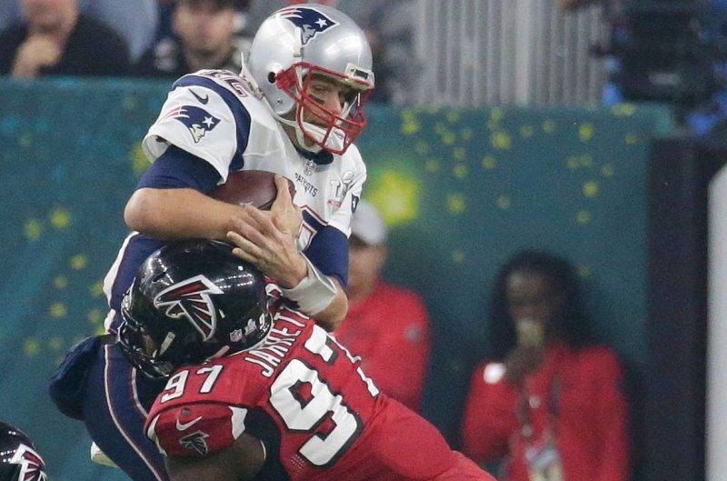 Atlanta Falcons defensive tackle Grady Jarrett had a career-high six sacks last year. File Photo by John Angelillo/UPI