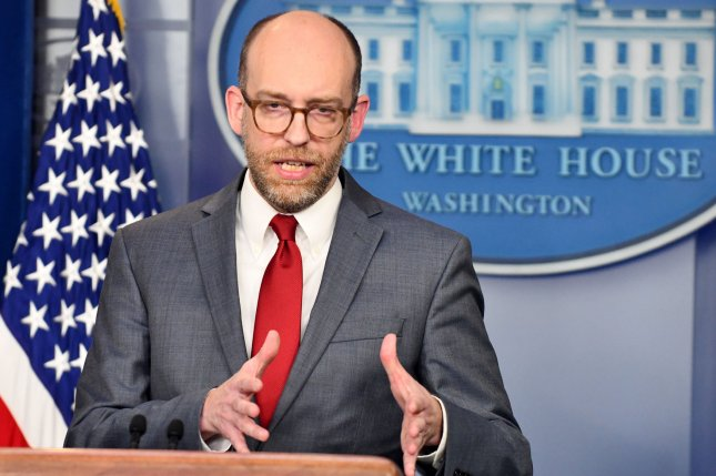 White House budget director Russell Vought speaks to reporters at the White House on March 11. He was one of three administration officials who received a subpoena Friday. File Photo by Pat Benic/UPI