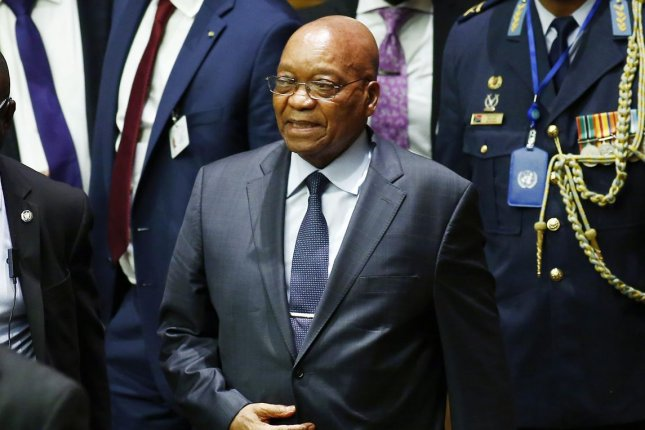 A South African judge issued an arrest warrant Tuesday for former President Jacob Zuma, shown here at the United Nations in 2016, for failing to appear at a hearing. File Photo by Monika Graff/UPI