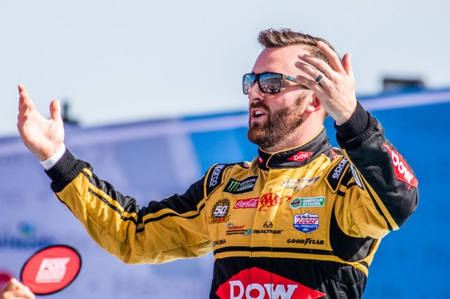 Austin Dillon (pictured) and teammate Tyler Reddick held off the Cup Series field and finished first in the O'Reilly Auto Parts 500 Monday at Texas Motor Speedway in Fort Worth. File Photo by Edwin Locke/UPI