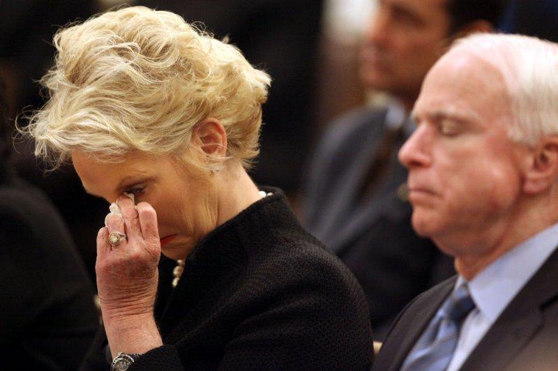 Cindy McCain and husband Sen. John McCain, R-Ariz., in Tucson, Jan. 13, 2011. UPI/Greg Bryan/Arizona Daily Star/Pool