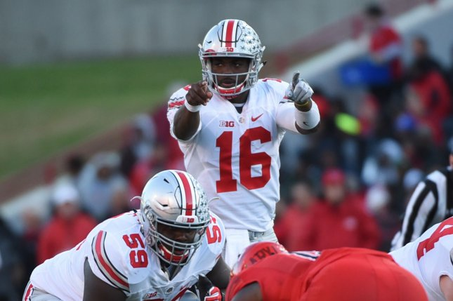 The Michigan Wolverines travel to Ohio Stadium to play the Ohio State Buckeyes and quarterback J.T. Barrett this Saturday in a game that has major College Football Playoff implications. Photo by Molly Riley/UPI