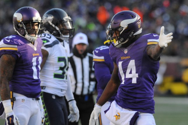 Minnesota Vikings wide receiver Stefon Diggs (14) indicates a first down after his catch in the first quarter against the Seattle Seahawks in the AFC Wild Card game at U.S. Bank Stadium in Minneapolis on January 10, 2016. File photo by Marilyn Indahl/UPI