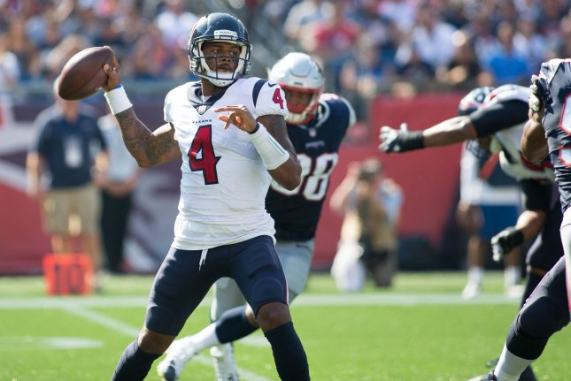 Houston Texans quarterback Deshaun Watson (4) throws a pass in the second quarter against the New England Patriots at Gillette Stadium in Foxborough, Massachusetts on September 24, 2017. File photo by Matthew Healey/UPI
