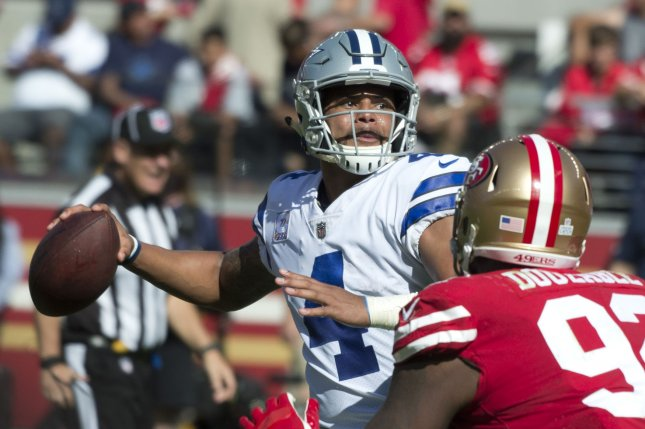 Dallas Cowboys QB Dak Prescott (4) throws in the second quarter against the San Francisco 49ers at Levi's Stadium in Santa Clara, California on October 22, 2017. File photo by Terry Schmitt/UPI