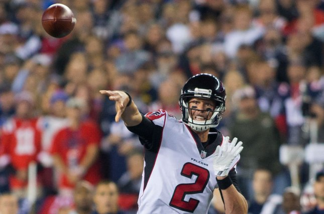 Atlanta Falcons quarterback Matt Ryan (2) throws a pass in the first quarter against the New England Patriots at Gillette Stadium in Foxborough, Massachusetts on October 22, 2017. File photo by Matthew Healey/UPI
