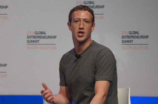 Facebook founder Mark Zuckerberg is scheduled to testify in Congress on Tuesday and Wednesday. File Photo by Terry Schmitt/UPI