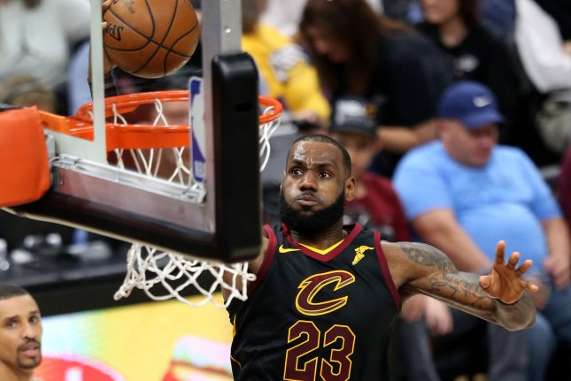 Cleveland Cavaliers' star LeBron James dunks the ball during the first half against the Sacramento Kings on December 6 at Quicken Loans Arena in Cleveland, Ohio. Photo by Aaron Josefczyk/UPI