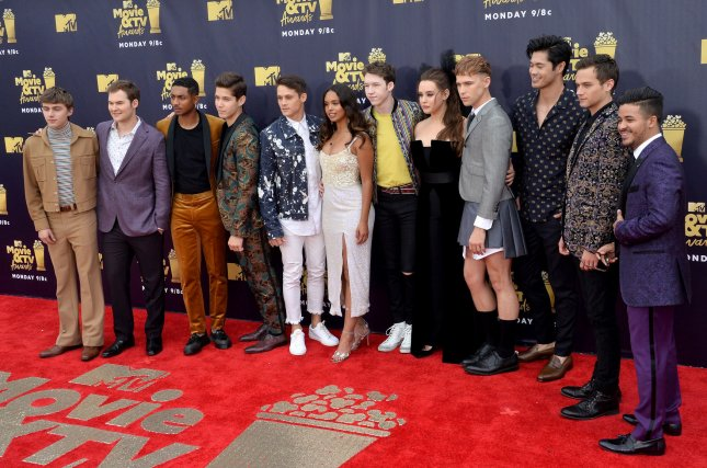 The cast of 13 Reasons Why attends the MTV Movie & TV Awards Saturday. On Friday, the show's director Michael Morris' Tesla caught fire. Photo by Jim Ruymen/UPI