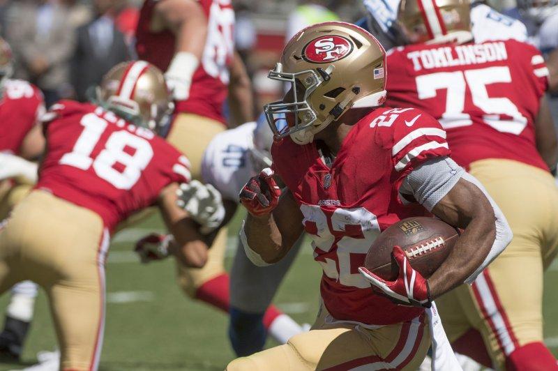 f6c427c8b San Francisco 49ers running back Matt Breida (22) runs against the Detroit  Lions in the first quarter on September 16
