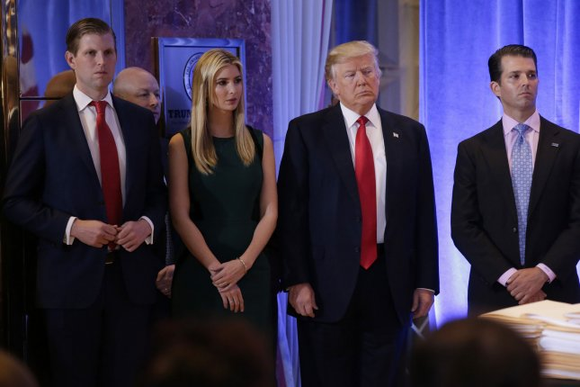 Eric Trump, Ivanka Trump, President Donald Trump and Donald Trump, Jr., are jointly suing Deutsche Bank and Capital One to keep them from complying with Democratic lawmakers' subpoenas. File Photo by John Angelillo/UPI