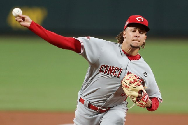 Cincinnati Reds starting pitcher Luis Castillo allowed just two hits and one run in six innings against the St. Louis Cardinals on Tuesday in St. Louis. Photo by Bill Greenblatt/UPI