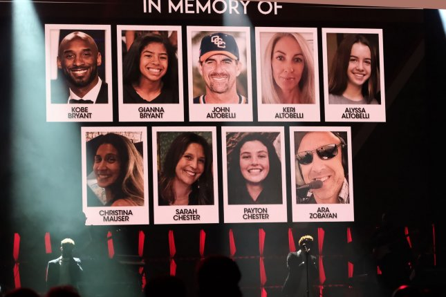 The nine victims of a Jan. 26 helicopter crash in Calabasas, Calif., were honored during Super Bowl LIV week at the 21st Super Bowl Gospel Celebration Jan. 30 at the James L. Knight Center in Miami. Photo By Gary I Rothstein/UPI