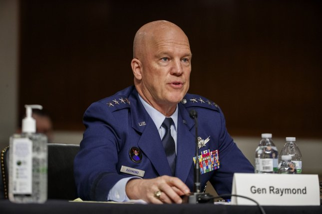 Chief of Space Operations at U.S. Space Force General John Raymond testifies before the Senate Armed Services Committee on the FCC's Ligado 5G network approval on Wednesday on Capitol Hill in Washington, D.C. Pool photo by Shawn Thew/UPI