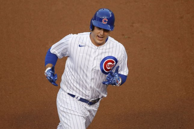 Chicago Cubs first baseman Anthony Rizzo, shown Sept. 6, 2020, has 14 home runs and 40 RBIs over 92 games this season. File Photo by Kamil Krzaczynski/UPI