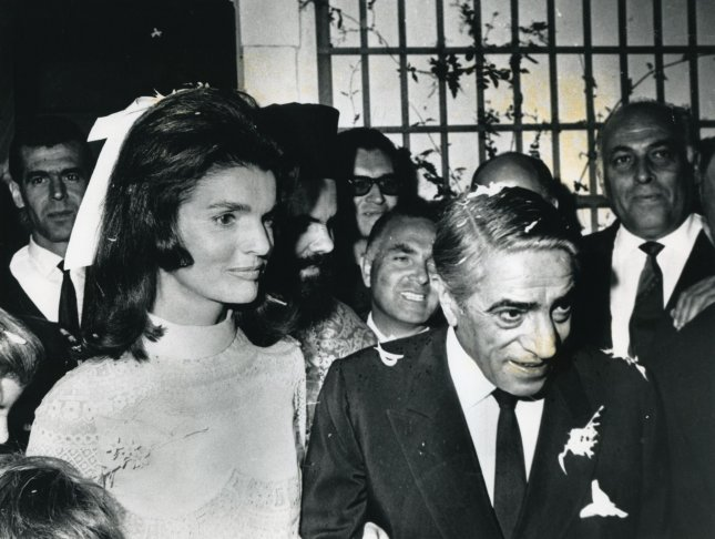 Jacqueline Kennedy and Aristotle Onassis are married on the Greek island of Skorpios, on Oct. 20, 1968. File Photo by UPI