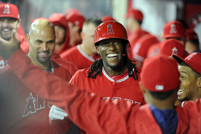 Los Angeles Angels' Cameron Maybin is congratulated by teammates after hitting a homerun in the 6th inning against the Seattle Mariners at Angel Stadium in Anaheim, California on April 7, 2017. File photo by Lori Shepler/UPI