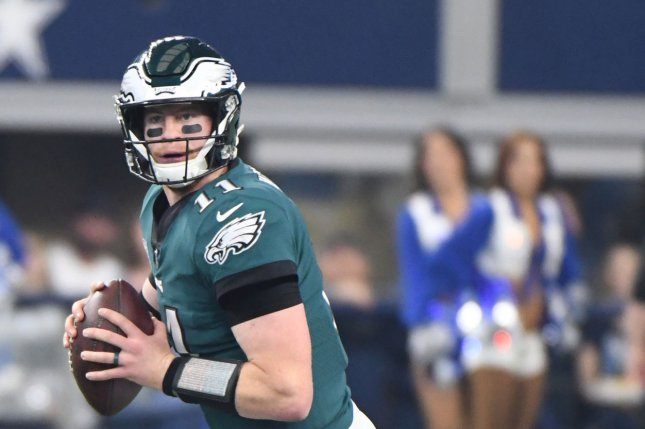 Philadelphia Eagles quarterback Carson Wentz scrambles out of the pocket against the Dallas Cowboys during their game AT&T Stadium in Arlington, Texas on December 9, 2018. Photo by Ian Halperin/UPI