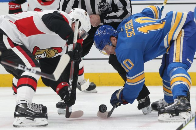Former Ottawa Senators star Matt Duchene (L) was traded to the Columbus Blue Jackets on Friday after he declined to sign a long-term contract with the Senators. Photo by Bill Greenblatt/UPI