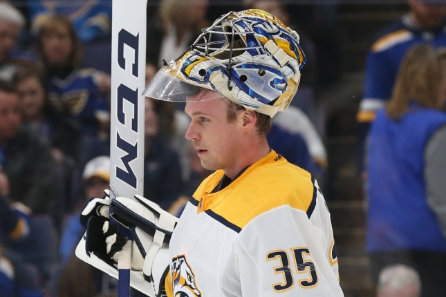 Nashville Predators goaltender Pekka Rinne had 40 saves during his team's 3-2 win over the Dallas Stars in Game 3. File Photo by Bill Greenblatt/UPI