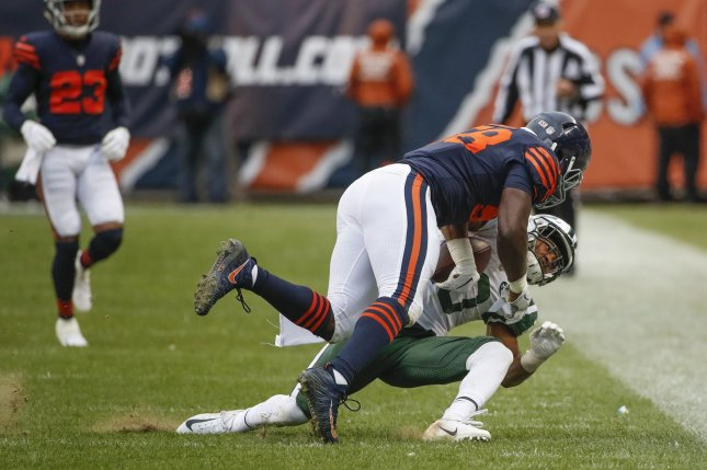 Chicago Bears inside linebacker Roquan Smith (58) was a surprise inactive for Sunday's game against the Minnesota Vikings due to a personal matter. File Photo by Kamil Krzaczynski/UPI