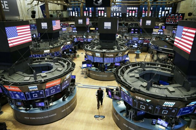 The trading floor of the New York Stock Exchange is seen mostly empty on March 20, when Wall Street went to all electronic trades. Photo by John Angelillo/UPI